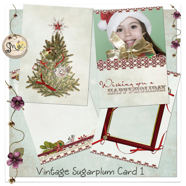 Vintage Sugarplum Holiday card 1